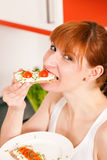 Healthy eating - woman with crispbread Stock Photo