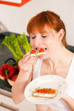 Healthy eating - woman with crispbread Royalty Free Stock Image