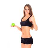 Healthy eating woman trying to lose weight. Isolated over a white background Royalty Free Stock Photography