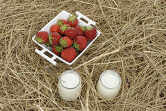 Healthy eating: yoghurt and strawberries Stock Photo