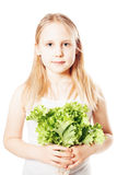 Healthy Eating. Young Girl holding Lettuce Royalty Free Stock Images