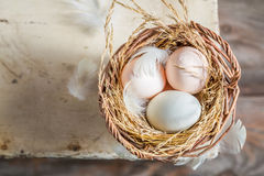Healthy and ecological eggs in the basket Royalty Free Stock Image