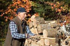 Healthy elderly man lumberjack Royalty Free Stock Photo