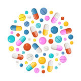 Healthy elements in circle shape background. Vector icons of drugs, long tablets and round pills. Drug pill and tablet, illustration of colored pharmaceutical Stock Images