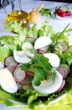 Healthy enrich summer vegetable salad. With fresh radish, cucumber, boiled eggs, green vegetables and herbs in a white bowl, blur background, vertical Stock Image