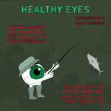 Healthy eye. Information about the benefits of fish for eyesight Royalty Free Stock Photos