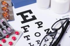Healthy eyes. Eye chart and medicine Stock Photo