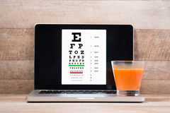 Healthy eyes. Eye chart and medicine Royalty Free Stock Photography
