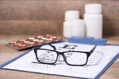Healthy eyes. Eye chart and medicine Royalty Free Stock Photo