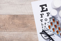 Healthy eyes. Eye chart and medicine Royalty Free Stock Image