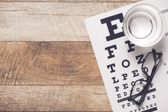 Healthy eyes. Eye chart and medicine Stock Images