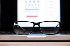 Healthy eyes. Eye chart and medicine Royalty Free Stock Photos