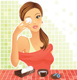 Healthy eyes. Woman taking care of tired eyes Royalty Free Stock Images