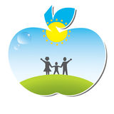 Healthy family. Vector illustration of family in apple representing healthy life Vector Illustration