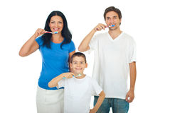 Healthy family brushing teeth Stock Photos