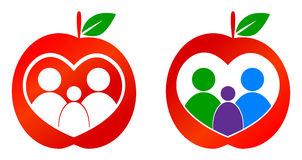 Healthy family. Concept apple with family Stock Photo