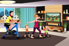 Healthy family exercising together. A vector illustration of healthy family exercising together indoor at home Stock Photo