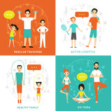 Healthy Family Flat Concept Stock Photography