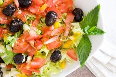 Healthy farm fresh Mediterranean salad Stock Photos