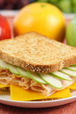 Healthy fast great food. Very well made sandwich whit fresh apple and fine cheddar honey ham Royalty Free Stock Photo