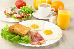 Healthy fatty breakfast with cup of coffee with bacon,eggs Royalty Free Stock Photos