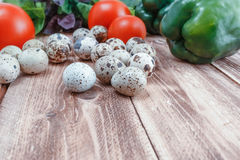 A healthy feed of -quail eggs and vegetables of basilicas is tomatoes and pepper. Quail eggs and vegetables stock photos