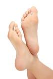 Healthy female feet. White background, copyspace royalty free stock photos