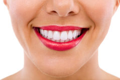 Healthy female teeth and smile. Isolated over white background Royalty Free Stock Image