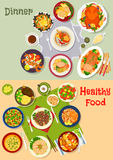 Healthy festive dinner icon set for menu design. Healthy festive dinner icon set with baked duck and pork, bacon tomato salad, chicken, turkey and lamb with Stock Photography