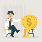Healthy financial. Flat Design Vector Illustration: Financial health check concept Royalty Free Stock Image