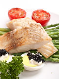 Healthy fish with asparagus Royalty Free Stock Photos