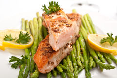 Healthy Fish and Asparagus Stock Photos