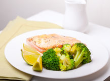 Healthy Fish Dinner. With saffron rice and vegetables Stock Photo