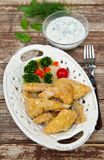 Healthy fish fingers. Homemade healthy fish fingers with tartar sauce Stock Image