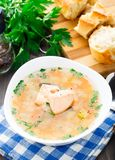 Healthy fish soup made of salmon Stock Photo
