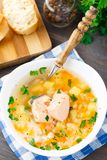 Healthy fish soup made of salmon Stock Image
