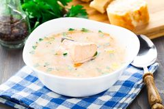 Healthy fish soup made of salmon Royalty Free Stock Image