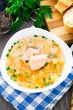 Healthy fish soup made of salmon Royalty Free Stock Photography