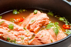 Healthy fish soup made of salmon Stock Images