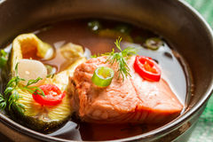 Healthy fish soup made of salmon and trout Royalty Free Stock Photography