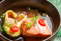 Healthy fish soup made of salmon and trout Stock Photo