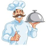Healthy Fit Muscly Chef. Serving Food Stock Photography
