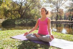 Healthy Fit Woman Doing Yoga Meditation In Nature royalty free stock image