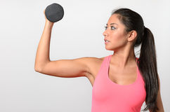 Healthy fit woman working out with weights Stock Photos