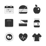 Healthy fitness diet icons set Royalty Free Stock Images