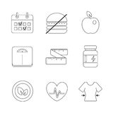 Healthy fitness diet icons set. Healthy fitness diet icons linear set Stock Images