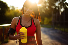 Healthy fitness girl with protein shake. stock photo