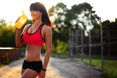 Free Healthy Fitness Girl With Protein Shake. Stock Photo - 76890570