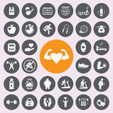 Healthy and fitness icon set.Vector. Stock Image