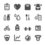 Healthy and fitness icon set, vector eps10 royalty free illustration